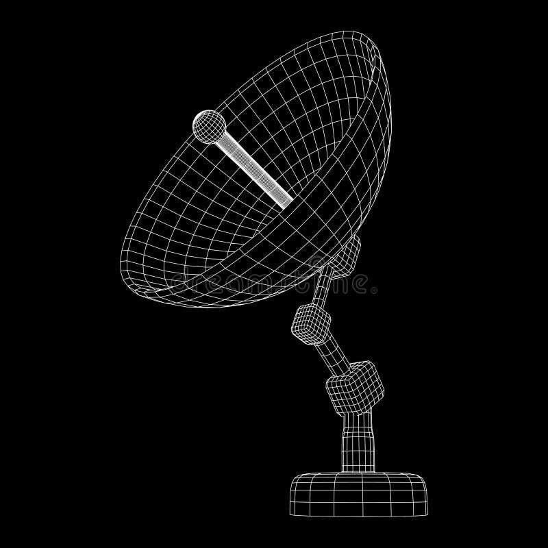 Wireframevektor för satellit- maträtt stock illustrationer