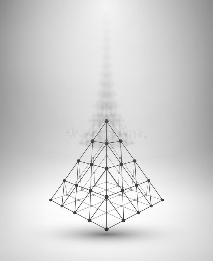 Wireframevorm Piramide met verbonden lijnen en vector illustratie