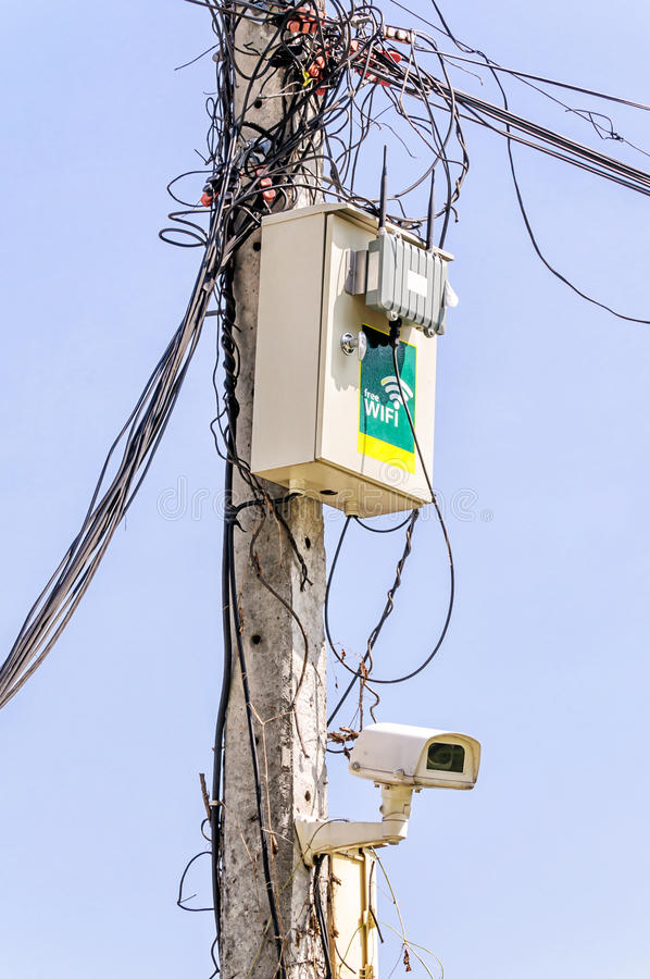 Wireless access point. Two antennas installation on pole with camera stock photos