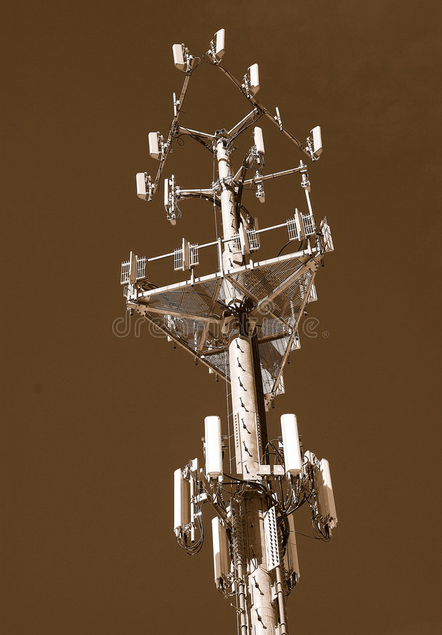 Wireless Cell Monopole. Wireless Cellular Monopole with Multiple Carriers royalty free stock images