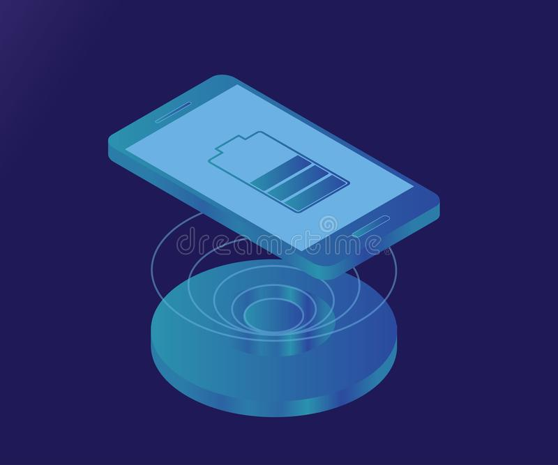 Wireless charger, smartphone, battery 3 royalty free illustration