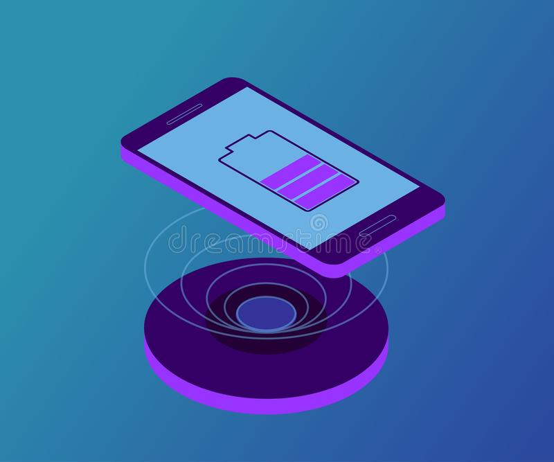 Wireless charger, smartphone, battery 1 stock illustration