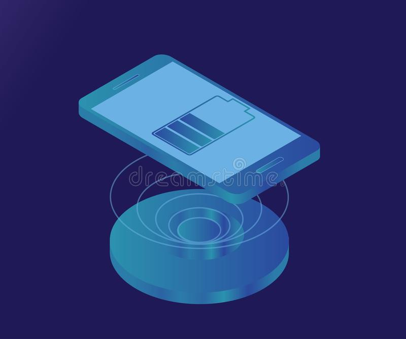 Wireless charger, smartphone, battery 4 stock illustration