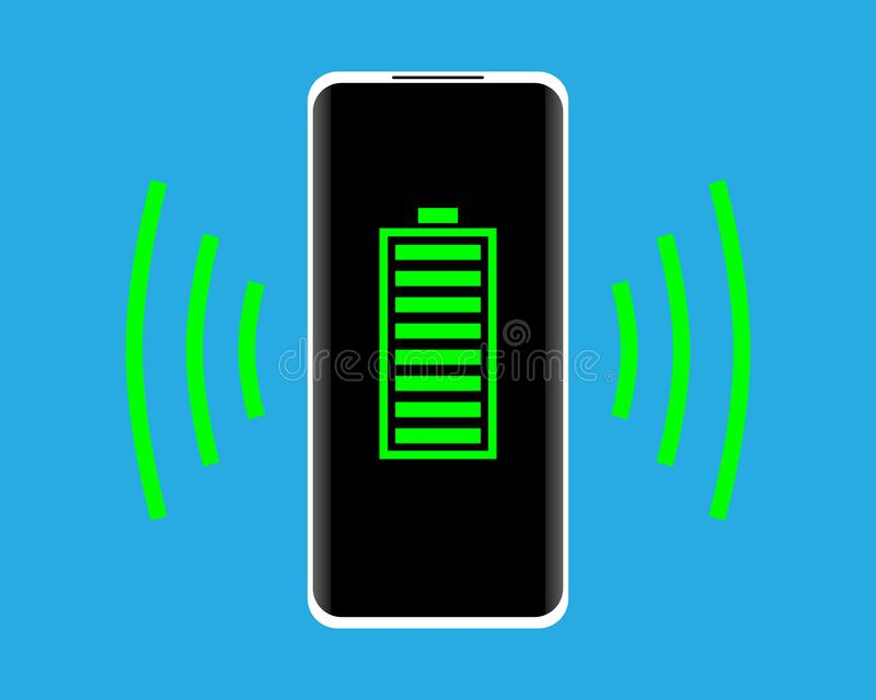 Wireless charging concept. Smartphone with full battery indicator on the screen. Vector illustration. vector illustration