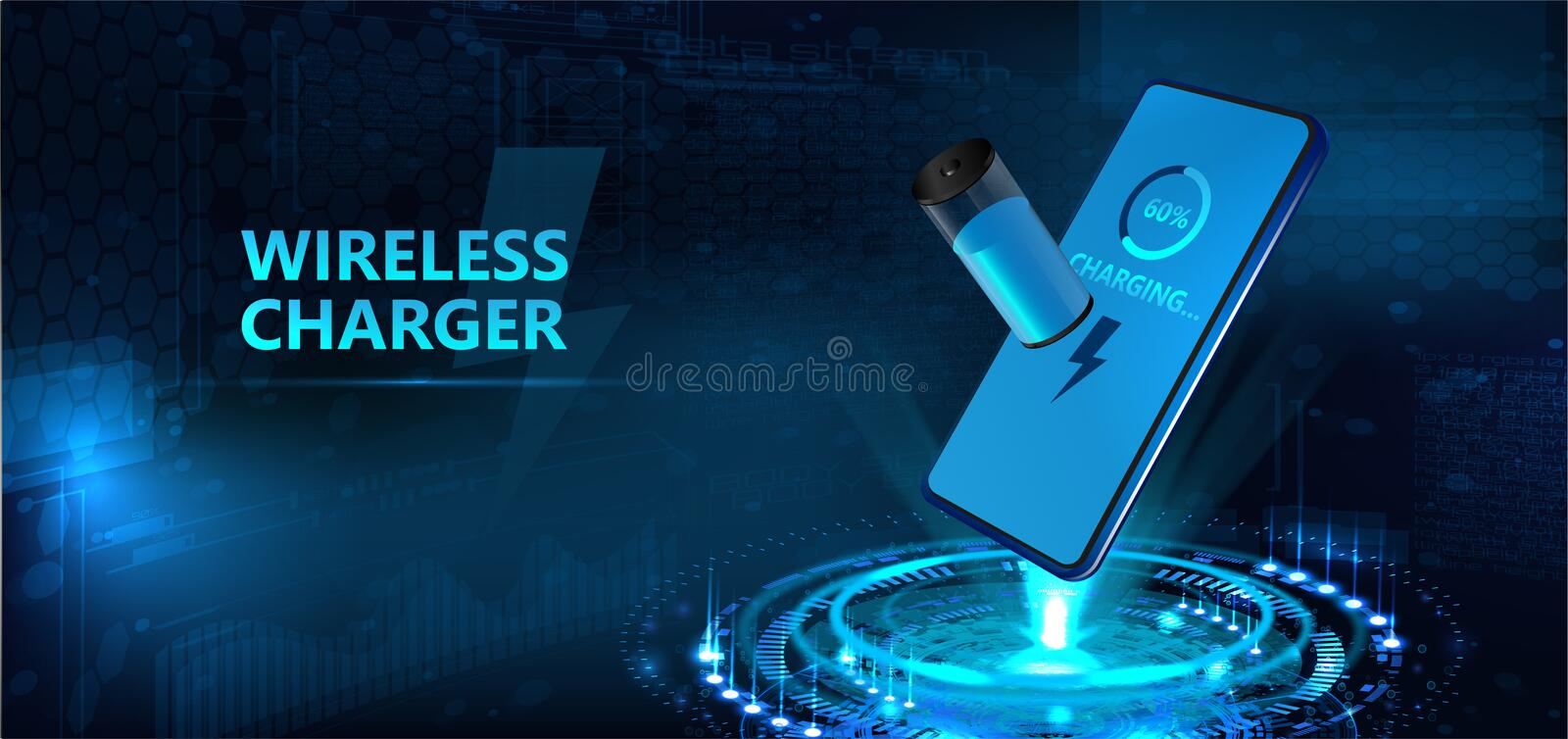 Wireless charging of the smartphone battery stock illustration