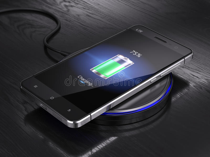 Wireless charging of smartphone vector illustration