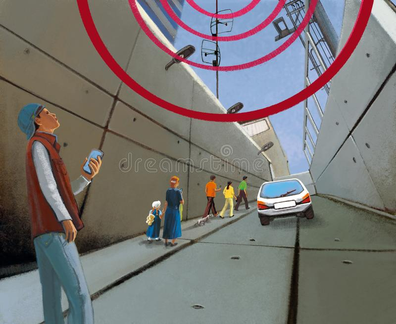 Wireless communication in the city. Gloomy concrete tunnel and people with gadgets.  royalty free illustration