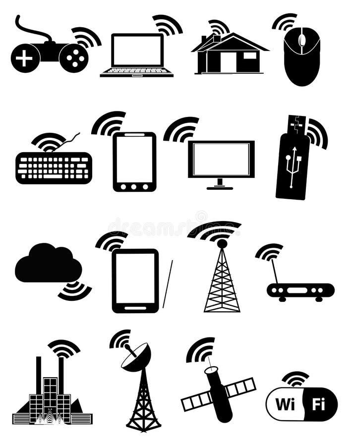 Wireless communication network business black icons set royalty free illustration