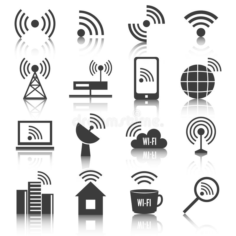 Light Tower Networks: Wireless Communication Network Icons Set Stock Vector
