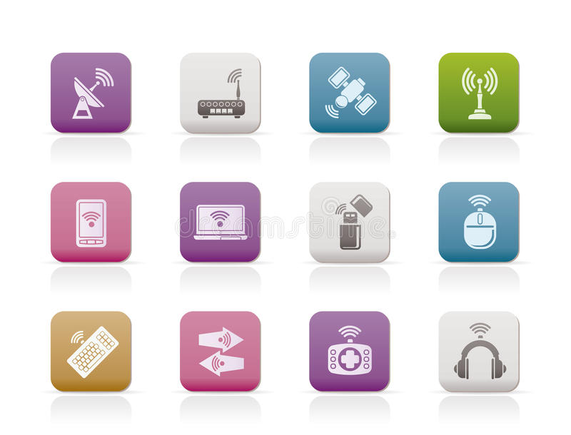Wireless And Communication Technology Icons Stock Vector ...