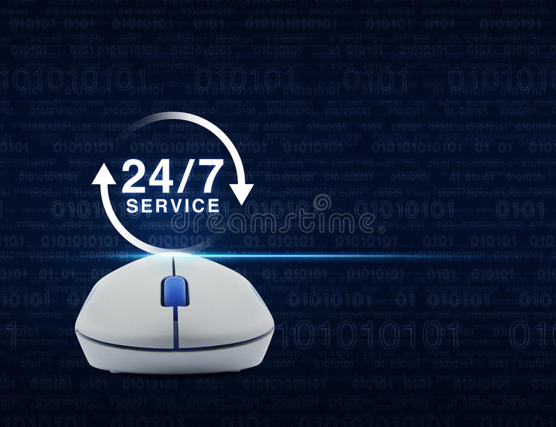 Wireless computer mouse with button 24 hours service icon over c stock photos