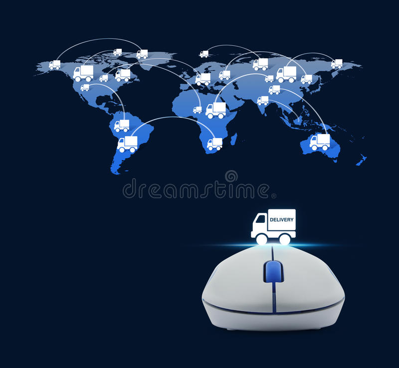 Wireless computer mouse with delivery truck icon and truck world. Map connection over blue background, Transportation business concept, Elements of this image royalty free illustration