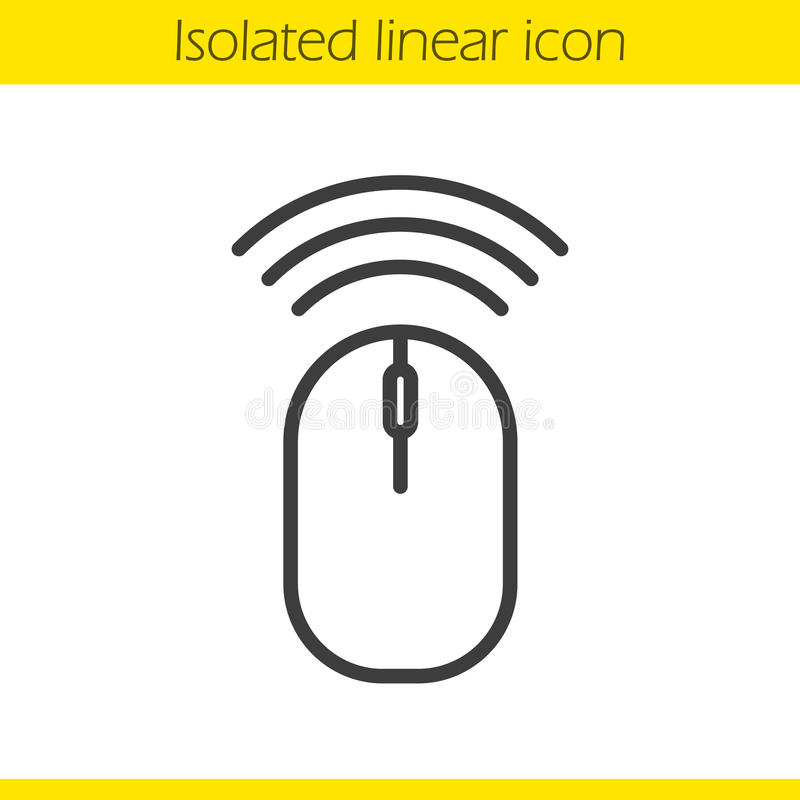 Wireless computer mouse linear icon stock illustration