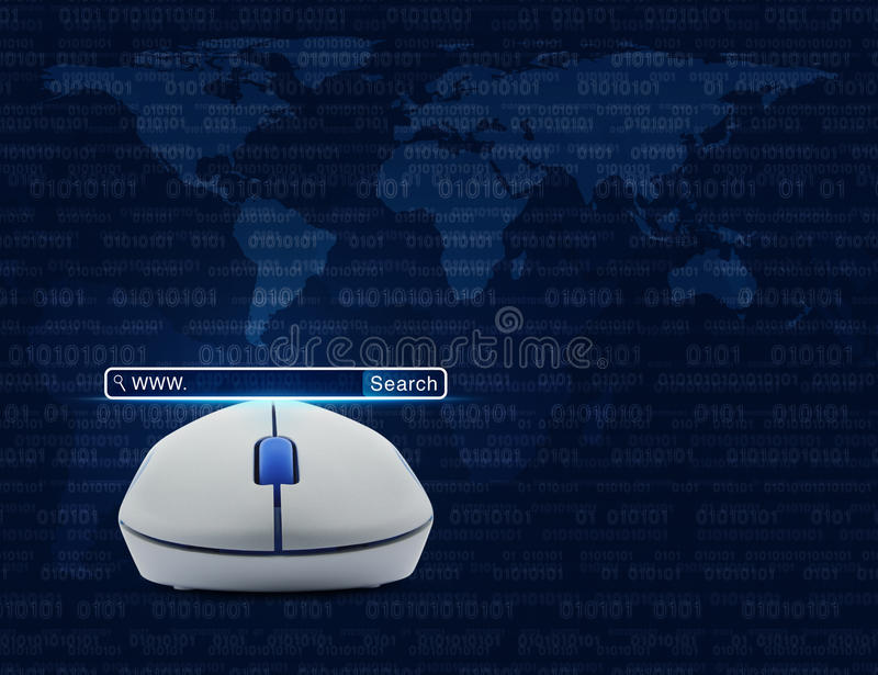 Wireless computer mouse with search www button over computer bin. Ary code with world map, Searching system and internet concept, Elements of this image vector illustration