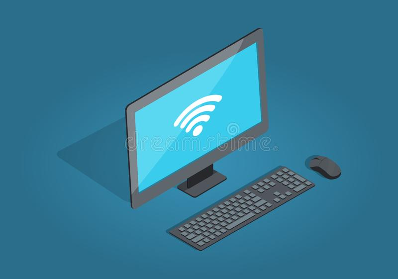 Wireless Connection Computer Accessories Cartoon. Wireless connection computer accessories in cartoon style on blue background. Monitor with white sign wi-fi stock illustration