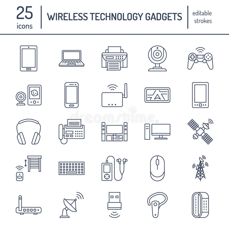 Wireless devices flat line icons. Wifi internet connection technology signs. Router, computer, smartphone, tablet stock illustration