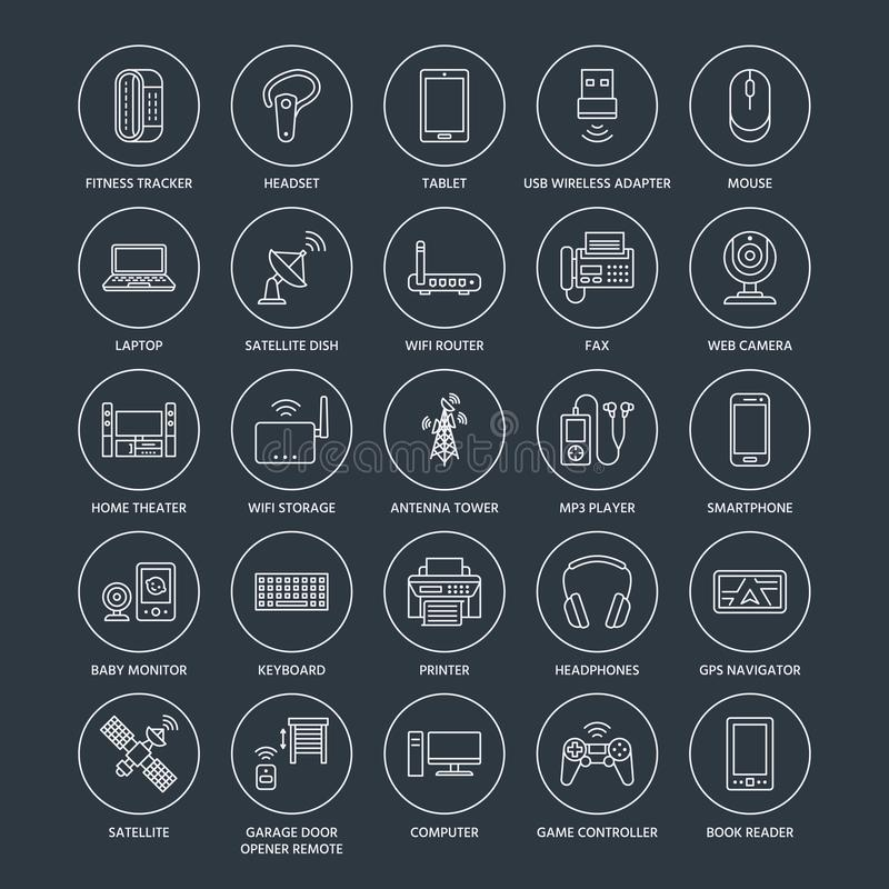 Wireless devices flat line icons wifi internet connection download wireless devices flat line icons wifi internet connection technology signs router computer keyboard keysfo Image collections