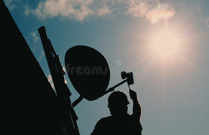 Wireless Dish Silhouette stock image