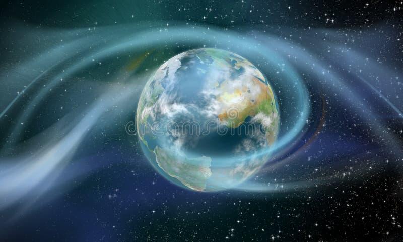 Wireless energy surrounding earth stock illustration