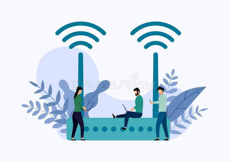 Wireless ethernet modem router with characters, business concept royalty free illustration