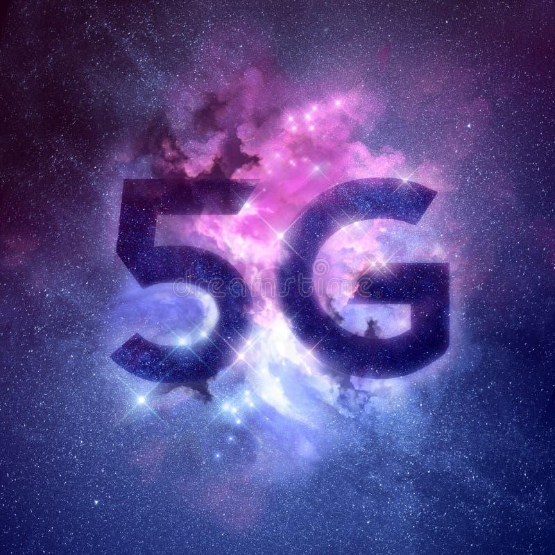 Wireless 5G Network Galaxy Nebula Background royalty free stock photo