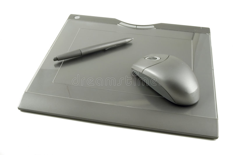 Wireless Graphics Tablet with Stylus and Mouse royalty free stock photos