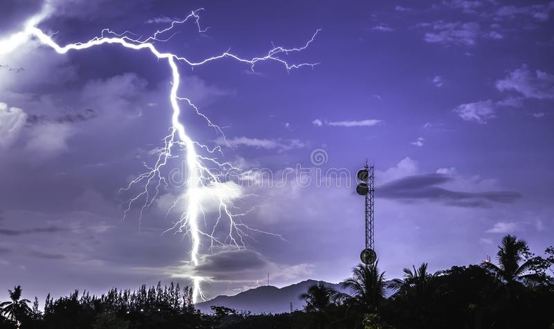 Wireless high speed like lightning power. blue sky and white black cloud color background royalty free stock image