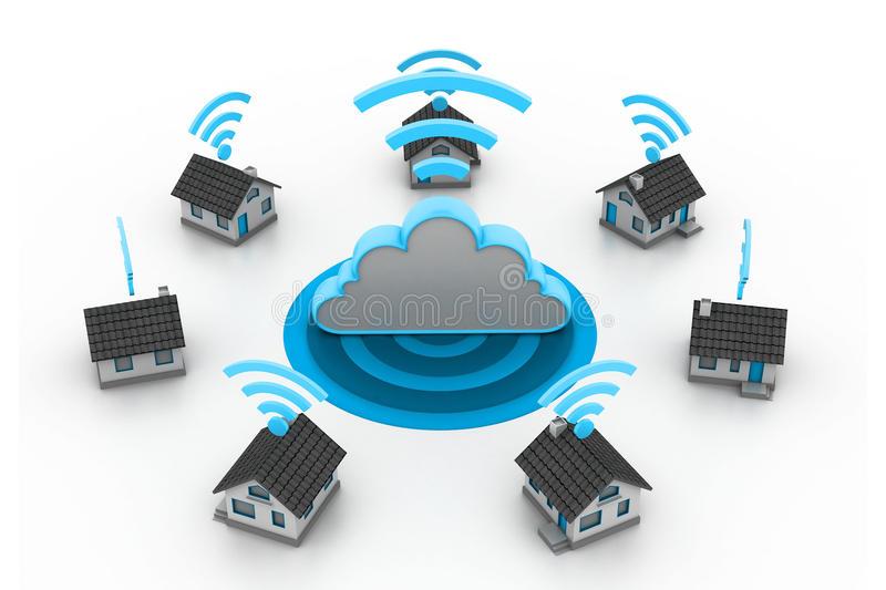 Wireless Home connection royalty free illustration