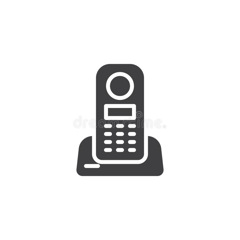 Wireless home telephone vector icon. Filled flat sign for mobile concept and web design. Cordless Phone glyph icon. Symbol, logo illustration. Pixel perfect royalty free illustration