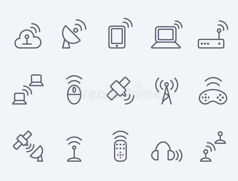 Download Wireless icon set stock vector. Illustration of mouse - 34054811