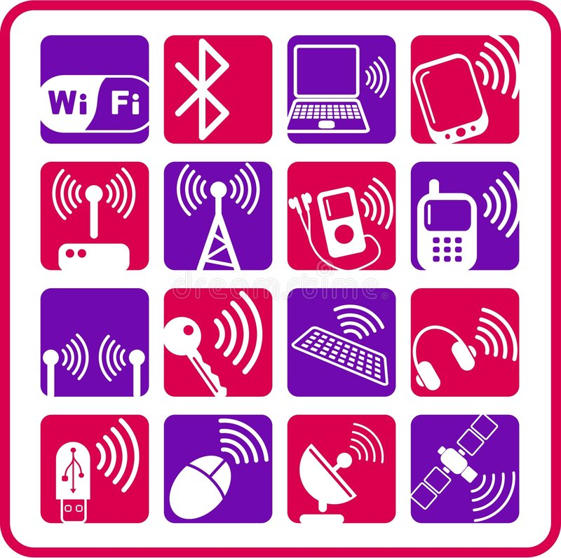 Wireless icons stock illustration