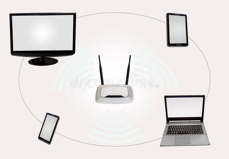 Wireless Internet connectivity zone with router desktop monitor laptop tab smart phone isolated in white. royalty free stock image