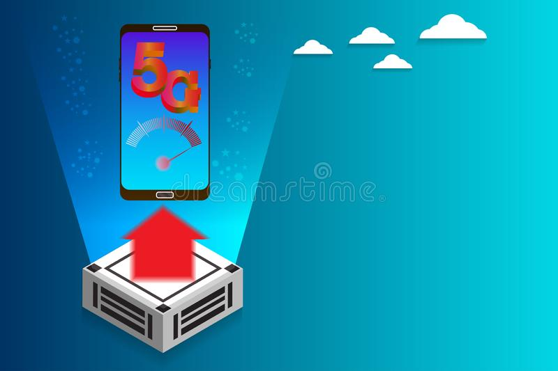 Wireless internet 5g network high speed connection with smart phone royalty free illustration