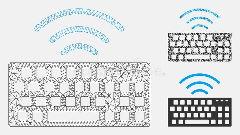 Wireless Keyboard Vector Mesh 2D Model and Triangle Mosaic Icon. Mesh wireless keyboard model with triangle mosaic icon. Wire frame polygonal mesh of wireless royalty free illustration
