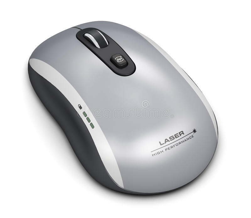 Wireless laser computer mouse. Creative abstract PC technology and business communication digital concept: wireless laser computer mouse with scrolling wheel vector illustration