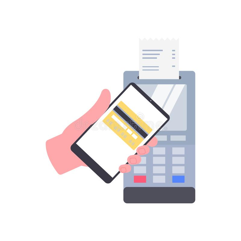 Wireless mobile phone money transaction on NFC type pay terminal. Cartoon hand with a smartphone with credit card icon approaching a checkout machine with a stock illustration