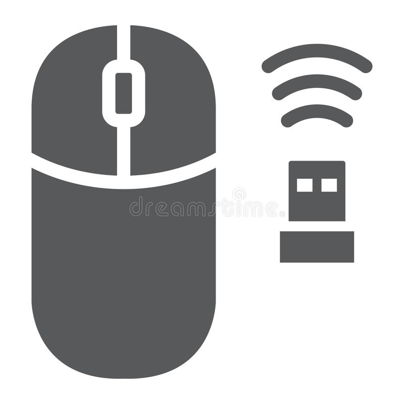Wireless mouse glyph icon, cursor and device, computer mouse sign, vector graphics, a solid pattern on a white stock illustration