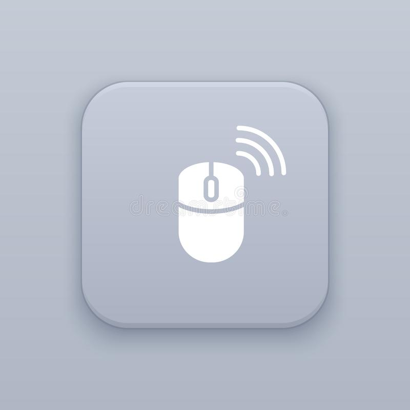 Wireless mouse gray vector button with white icon. On gray background, EPS 10 stock illustration
