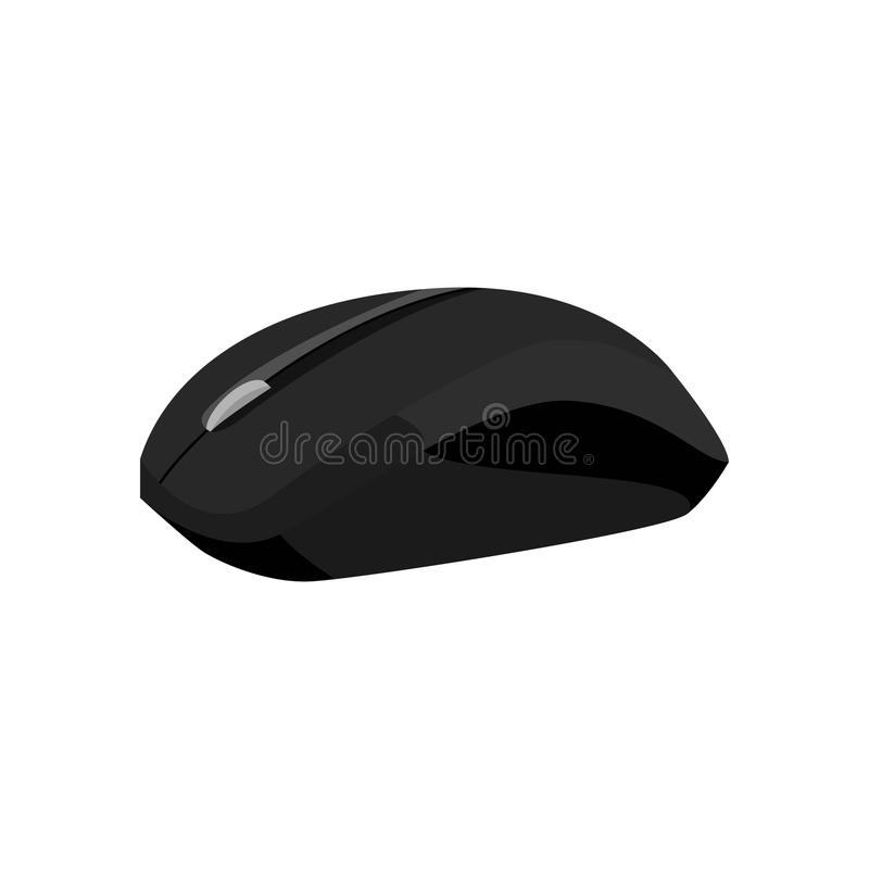 Wireless mouse icon, black monochrome style. Wireless mouse icon in black monochrome style isolated on white background. Equipment symbol illustration vector illustration