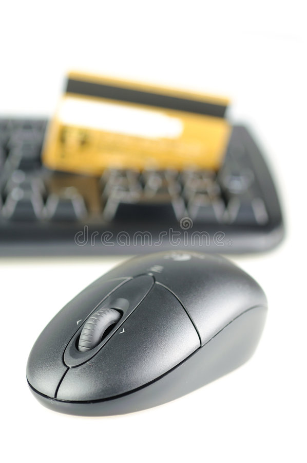 Wireless mouse, keyboard and credit card royalty free stock photo