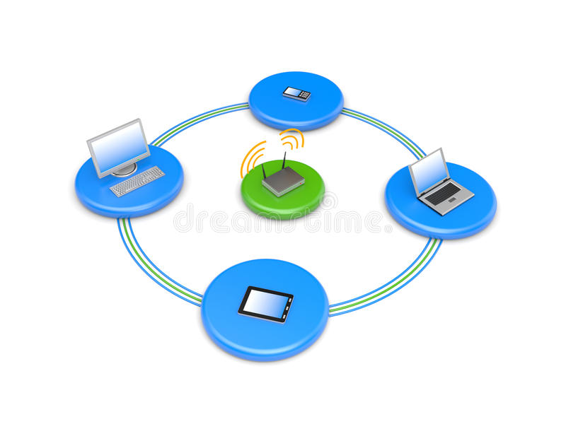 Download Wireless network stock illustration. Image of laptop - 19669724