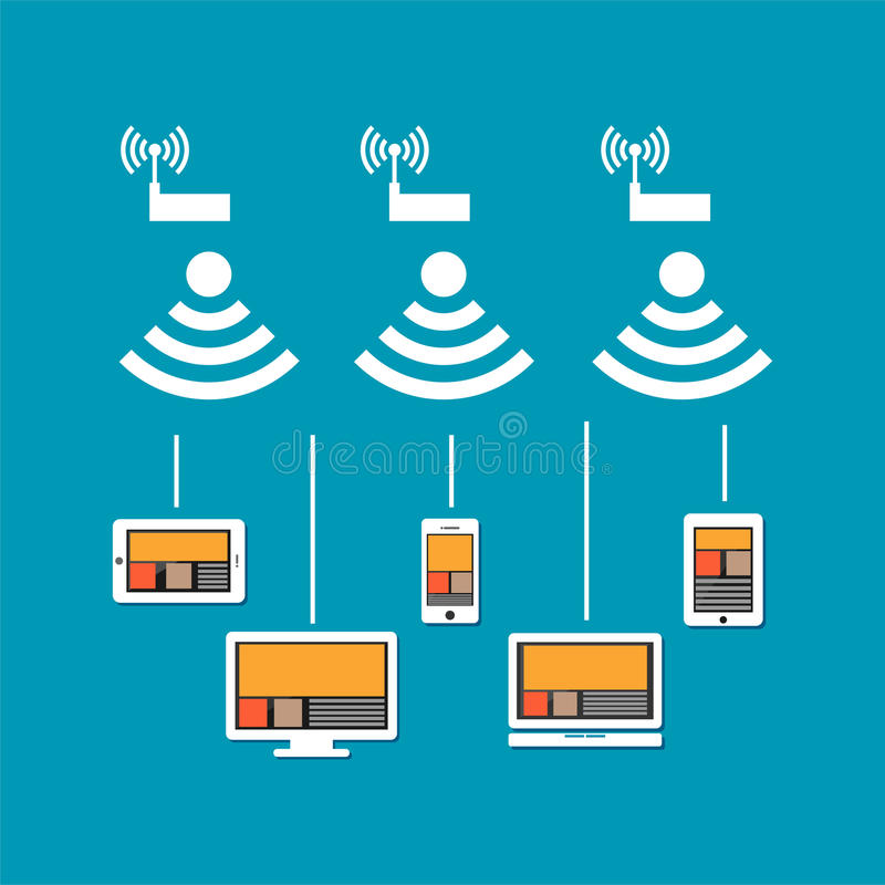 Wireless network connection concept. Wireless communication on devices. Devices connect to cloud internet using wireless signal.  royalty free illustration