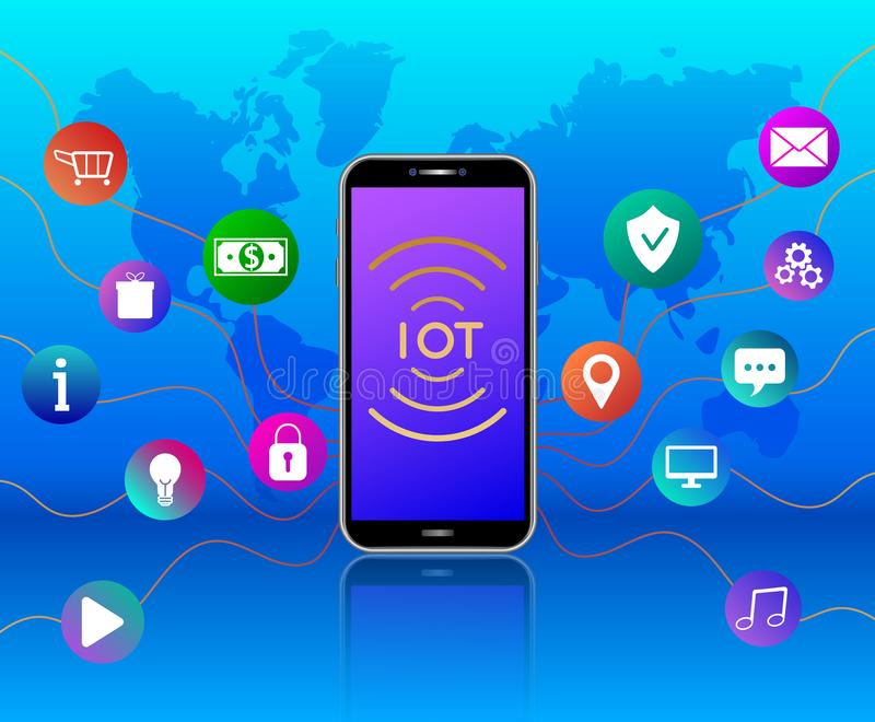 Wireless network connections technology. IOT concept. Cloud computing. Smartphone with colorful icons on blue background with worl vector illustration