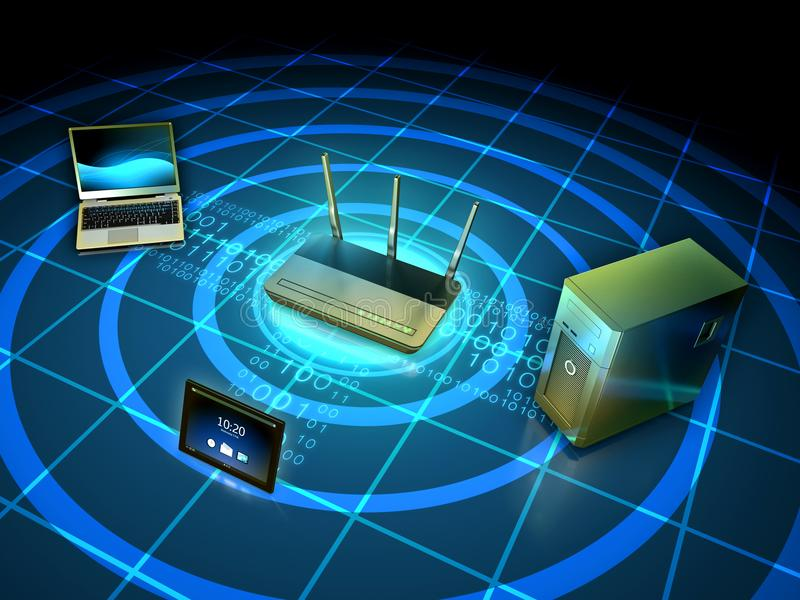 Wireless network setup vector illustration