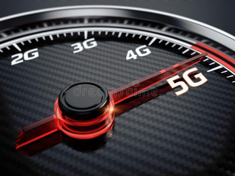 Wireless network speed. 5G high speed internet concept. 3d render vector illustration