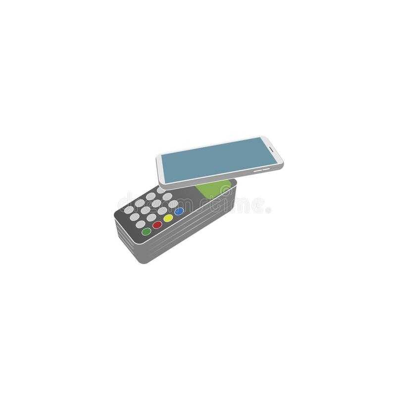 Payment by smartphone at the checkout. Wireless payment, buying by phone. Vector illustration vector illustration