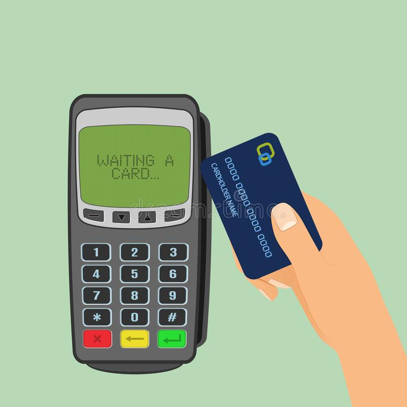 Wireless payment concept. Pos terminal is waiting for card and human hand holding a credit card to pay. stock illustration