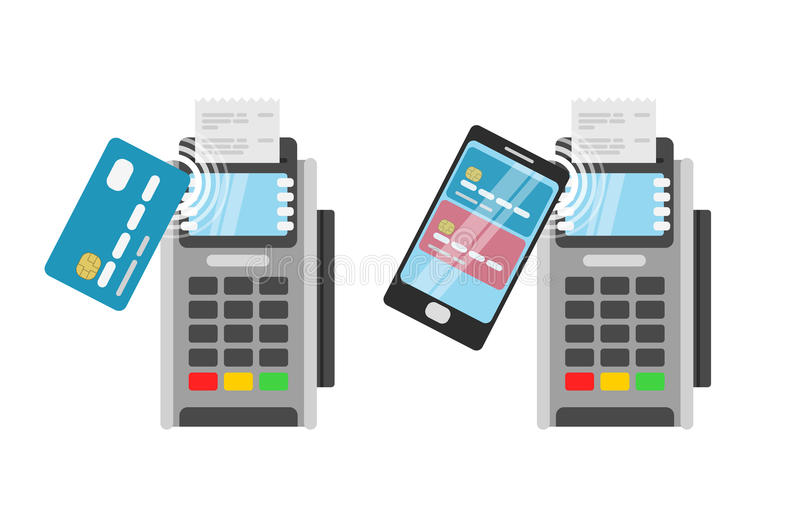 Wireless Payment by credit card using POS terminal stock illustration
