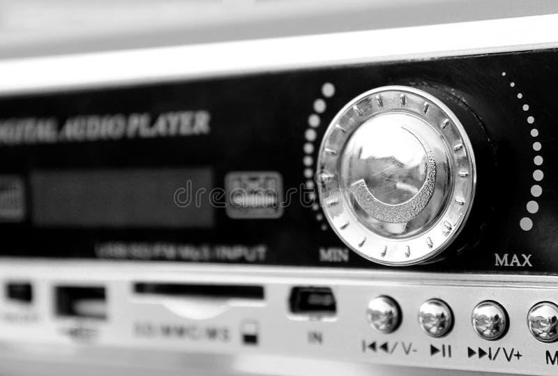 Wireless portable player black color mp3 sound stock image