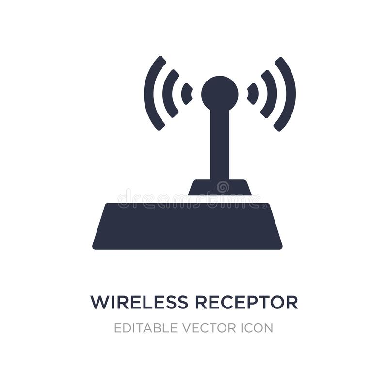 Wireless receptor icon on white background. Simple element illustration from Signs concept. Wireless receptor icon symbol design royalty free illustration